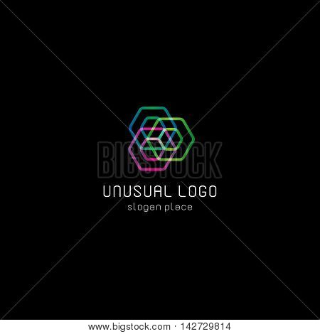 Isolated abstract colorful polygons vector logo. Geometric shapes logotype on the black background. Repairman equipment icon. Screw illustration.