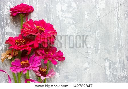 Lovely flowers on gray white blank background. Festive greeting card. Place for text