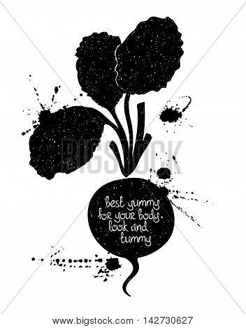 Hand drawn illustration of isolated black radish silhouette on a white background. Typography poster with creative poetic quote inside: best yummy for your body look and tummy.