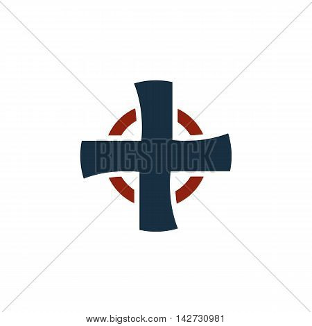 Isolated black color cross on the white background vector logo. Religious logotype. Medical icon. Ambulance, hospital emblem. Church element. Pharmaceutical sign. Plus button.