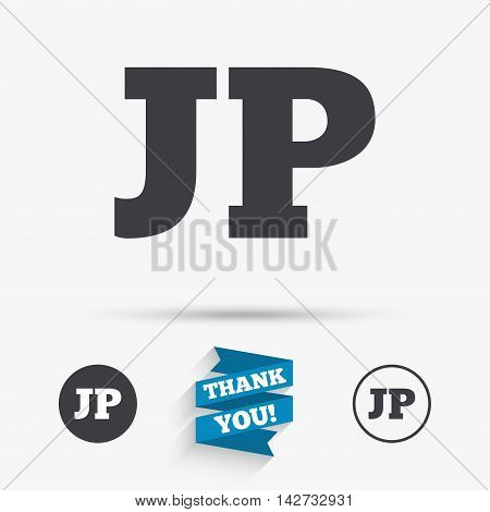 Japanese language sign icon. JP Japan translation symbol. Flat icons. Buttons with icons. Thank you ribbon. Vector
