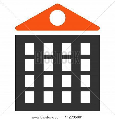 Multi-Storey House icon. Vector style is bicolor flat iconic symbol with rounded angles, orange and gray colors, white background.