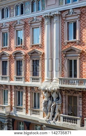 Italian Facade In Via Xx Settembre. Genova. Liguria, Italy.