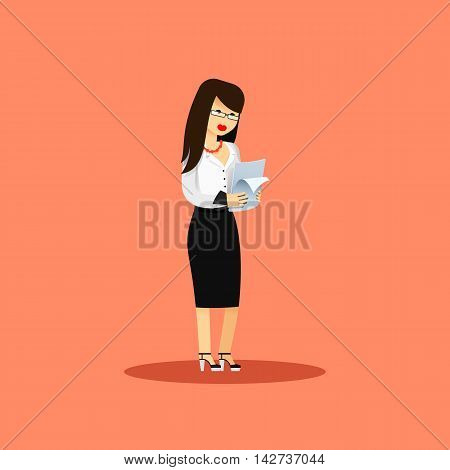 Business woman in black white costume vector illustration. Office staff, isolated characters girl happy face, people success, in hands paper. Business concept in flat. Educational aspirations of man
