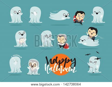 Funny cartoon schoolboy character and ghosts, Scene Concept adventure on Halloween. Doodle cute characters for holiday Halloween. Children and mythical creatures. Isolated image vector illustration