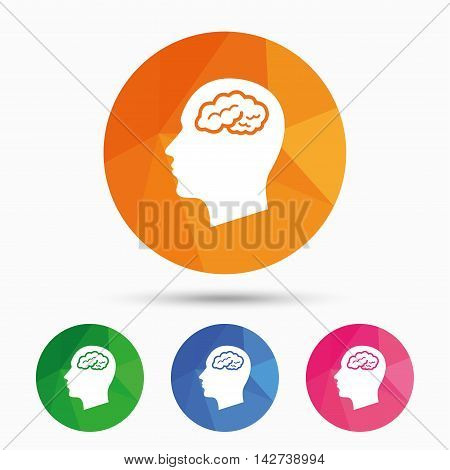 Head with brain sign icon. Male human head think symbol. Triangular low poly button with flat icon. Vector
