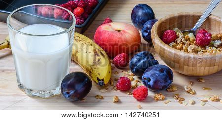 Bowl Of Muesli With Berries,fruits And Milk For Breakfast