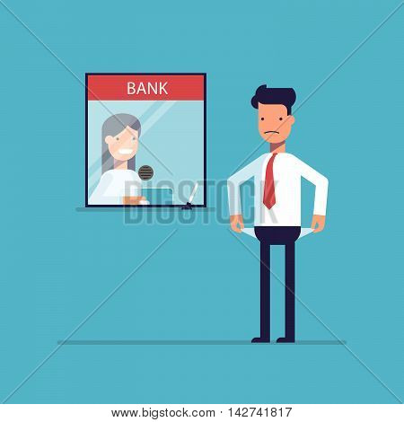 Businessman without money nothing to pay the loan , the debt to the bank. Man is not the money to pay. A man in a difficult financial situation. Banking system. Vector illustration in a flat style