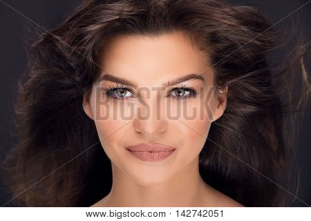 Beauty Portrait Of Natural Brunette Woman.