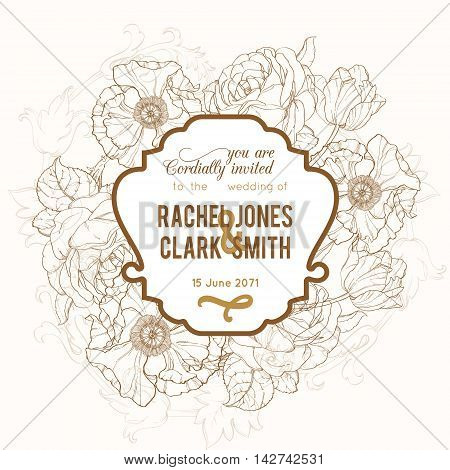 Vector Vintage Brown Frame Floral Drawing Wedding Invitation With Tulips, Poppies, Rozes In Classic Retro  Style Design. Perfect for invinations, packaging, announcements, menu, scrapbooking.