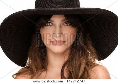 Portrait Of Young Woman In Hat.