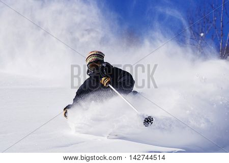 Freeride run in moutains of Siberia, powder run