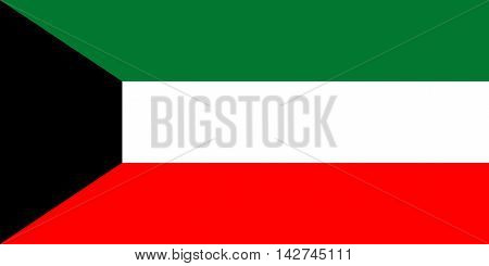Flag of Kuwait in correct size proportions and colors. Accurate dimensions. Kuwait national flag.