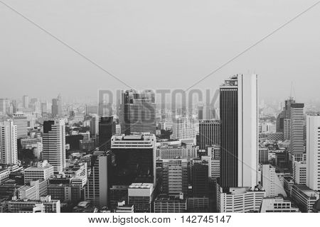 Building Cityscape Skyline Downtown Concrete Jungle Concept