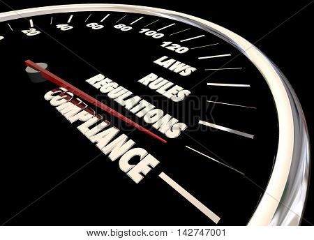 Compliance Rules Laws Regulations Speedometer 3d Animation poster