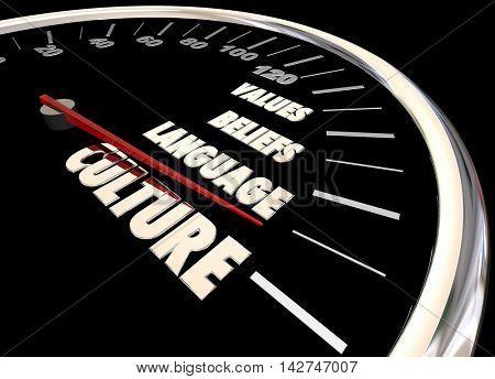 Culture Language Beliefs Values Diversity Speedometer 3d Illustration