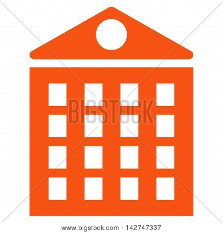 Multi-Storey House icon. Vector style is flat iconic symbol with rounded angles, orange color, white background.