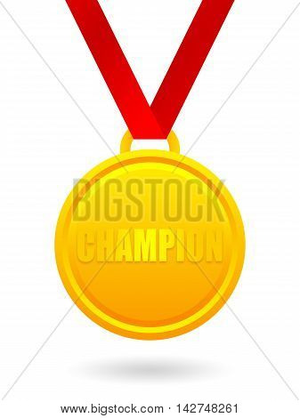 Champion golden medal isolated on white background