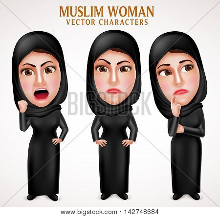 Angry muslim arab woman vector characters with facial expressions wearing veil and islamic clothes in white background. Vector illustration.
