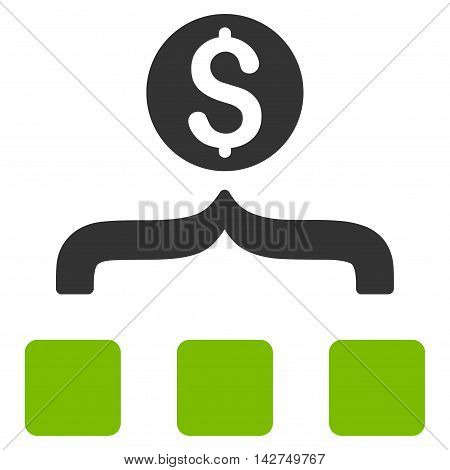 Money Aggregator icon. Glyph style is bicolor flat iconic symbol with rounded angles, eco green and gray colors, white background.