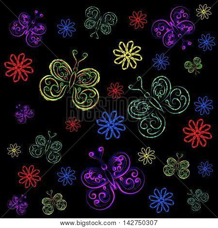 Butterflies and flowers. Bright pattern of butterflies and flowers on a black background.