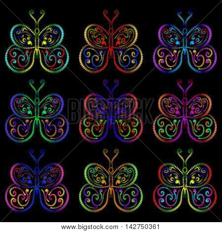 Butterflies of the springs and zigzags. Bright pattern of butterflies of different colors on a black background.