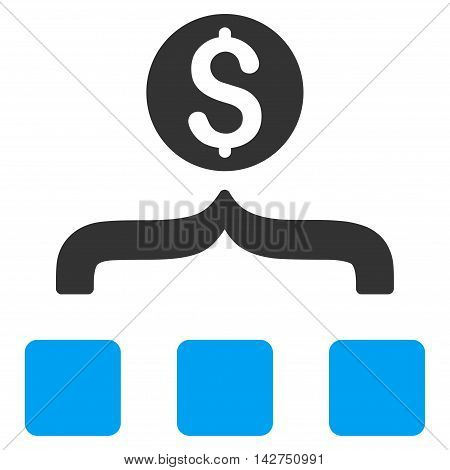 Money Aggregator icon. Vector style is bicolor flat iconic symbol with rounded angles, blue and gray colors, white background.