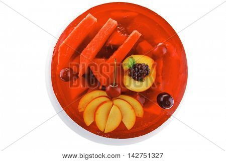 cold red jelly pie with apricot and watermelon