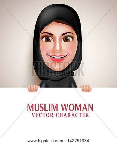 Muslim arab woman vector character holding blank white board with friendly beautiful smile wearing hijab and islamic clothing.  Vector illustration.