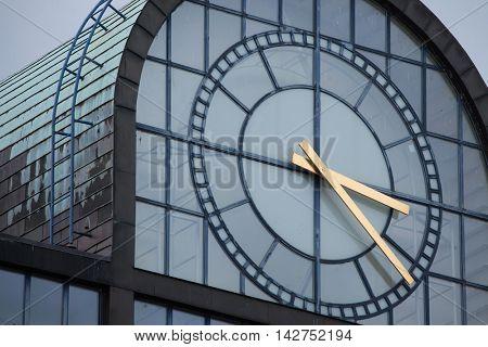 Huge clock on the postmodernist office building on Wenceslas Square in Prague, Czech Republic.