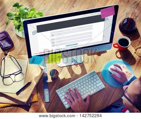 Registration Application Membership Account Concept