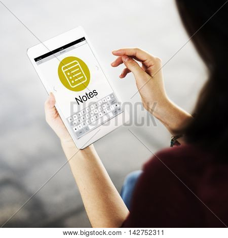 Notes Message Icon Webpage Concept