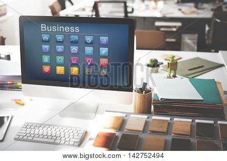 Business Icons Folder Profile Lightbulb Concept