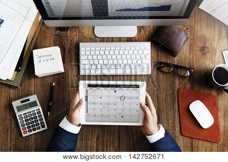 Businessman Workplace Working Using Tablet Concept
