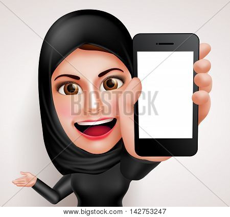 Arab muslim woman vector character holding mobile phone with blank screen while talking like professional showing contents. Vector illustration.