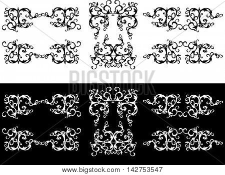 illustration with decorations set on white and black background