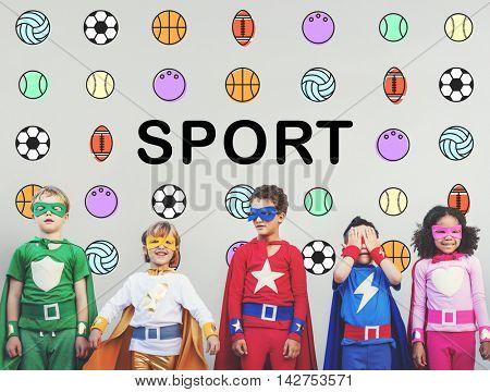 Sports Letters Balls Graphic Concept