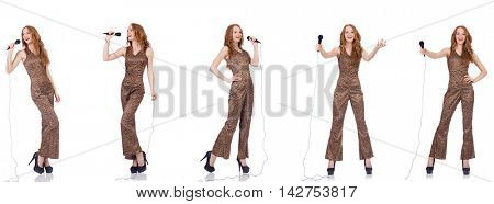 Young woman singing in karaoke isolated on white