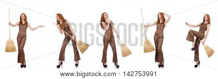 Woman cleaning floor isolated on white