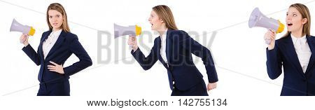 Businesswoman with loudspeaker isolated on white