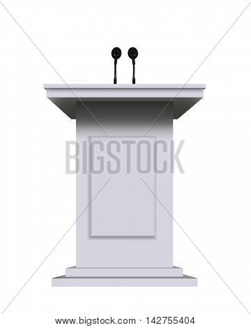 white podium rostrum stand with microphones isolated on white