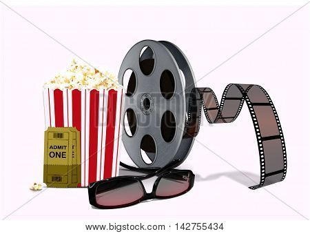 popcorn with film reel and 3d glasses