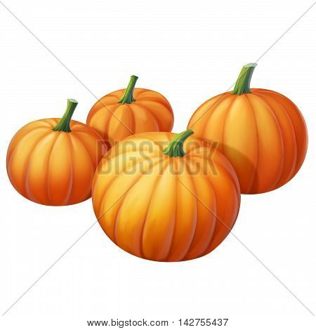 Four yellow pumpkin on a white background