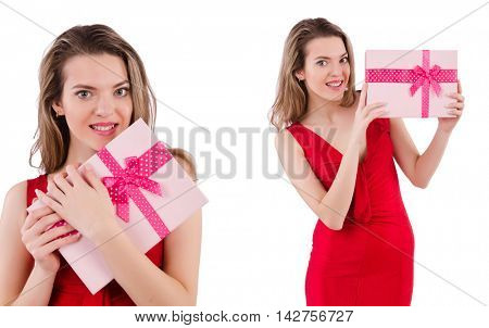 Pretty girl holding gift box isolated on white
