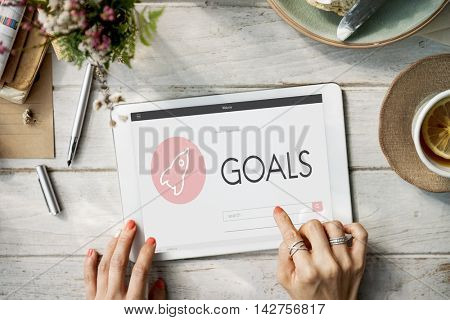 Goals Strategy Business Target Spacehip Graphic Concept