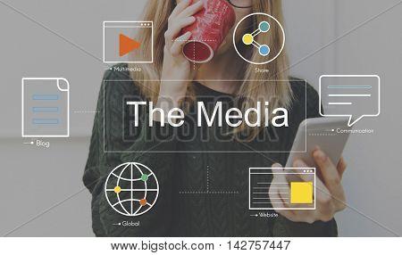 Social Media Chat Blog Media Concept