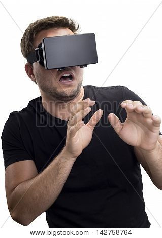 Gamer reaction to a scary immersive virtual reality exprience on a white background