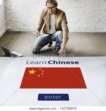 Learn Chinese Language Online Education Concept