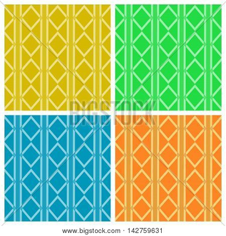 Geometric colorful patterns. Set. The collection of symmetric seamless patterns
