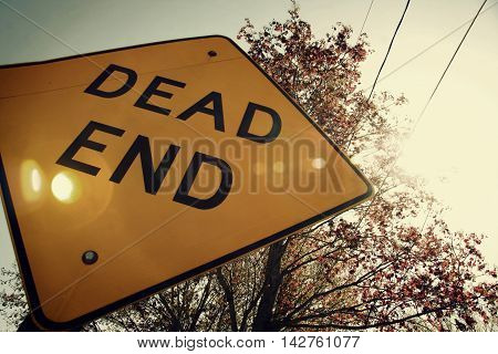Dead End street sign on a street, trees in the background and the sun shining through the power lines above